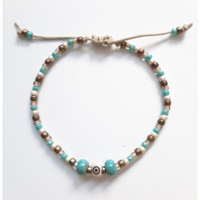 bohemien schuifarmbandje  turquoise/ brons