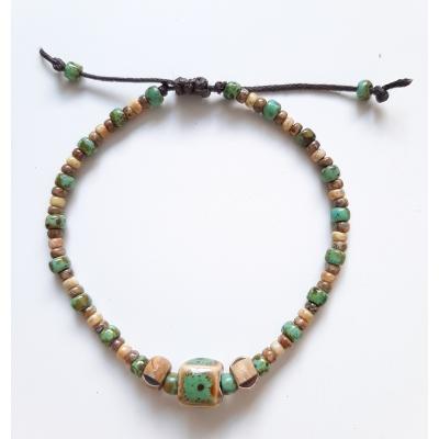 bohemien schuifarmbandje turquoise groen vierkant