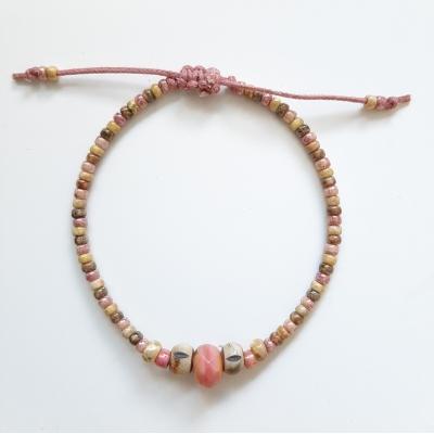 bohemien schuifarmbandje oud roze