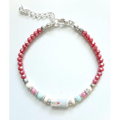 facet glaskraal armbandje roze/rood