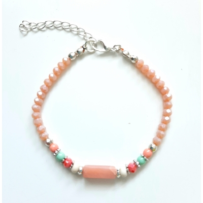 facet glaskraal armbandje peach