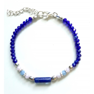 facet glaskraal armbandje saffierblauw