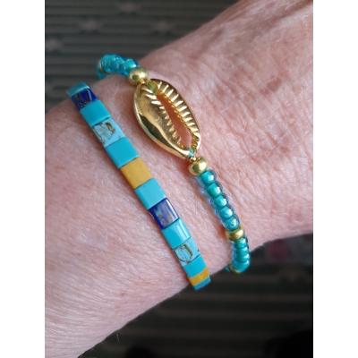 turquoiseblauw met goud armbanden setje