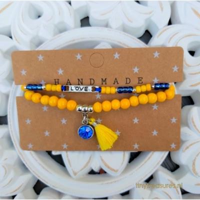 setje in geel en saffier blauw