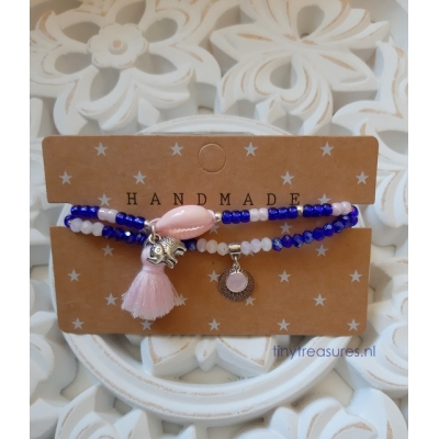 setje in kobalt blauw met zacht roze
