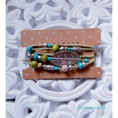 zijden wikkelarmband groen/ turquoise