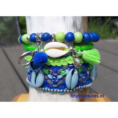 Hippie festival armband blauw