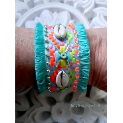 boho/ ibiza band armband turquoise-groen