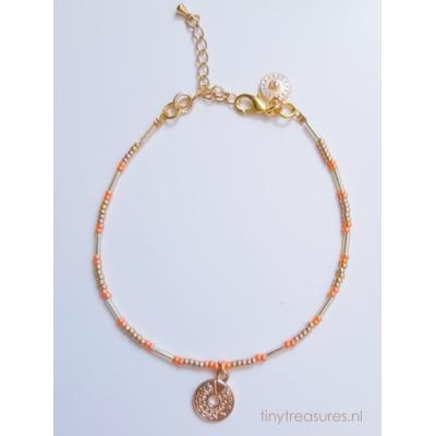 enkelbandje metallic oranje/ goud