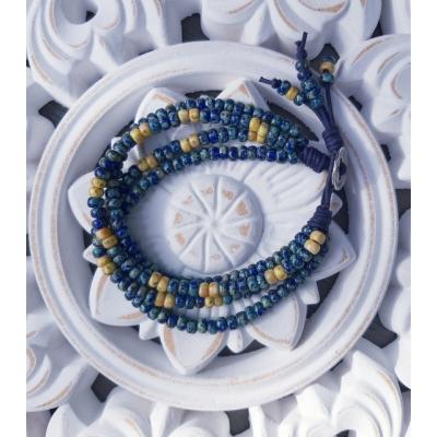 kralenarmband blauw/ geel