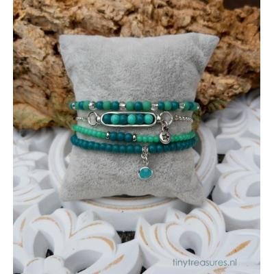 armband setje in blauwgroen/ turquoise
