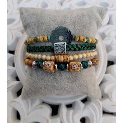 bohemien armband in oker en petrol groen