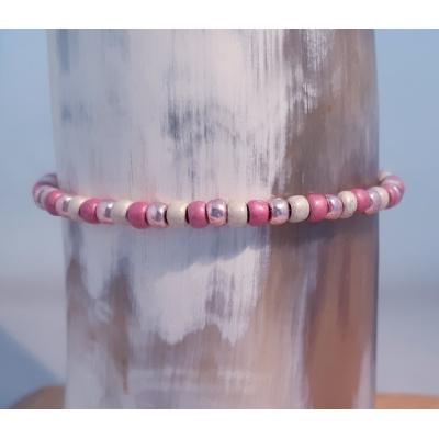 schuifarmbandje toho rocailles roze/roségoud