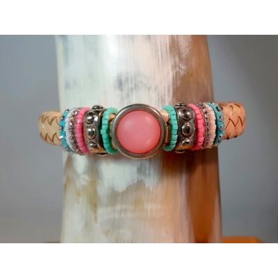 beige kabelleer armband
