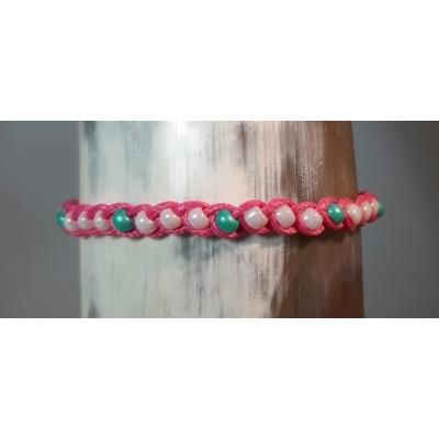 gevlochten wax koord armband in fel roze en turquoise