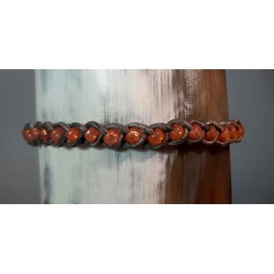 gevlochten leren armbandje metallic grijs met pastel oranje