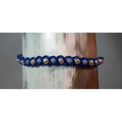 gevlochten leren schuifarmbandje blauw met zilver