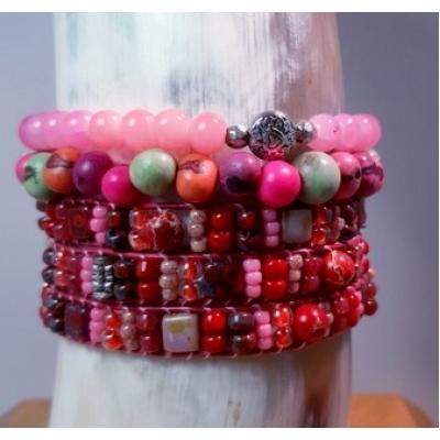 fel rood roze Miyuki wikkelarmband