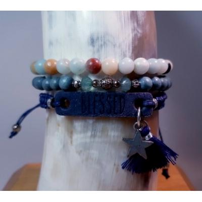 """""""blessed"""" donker blauw met amazoniet kralenarmband"""