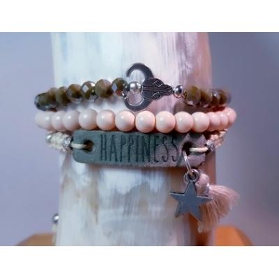 armbanden set in crème en legergroen
