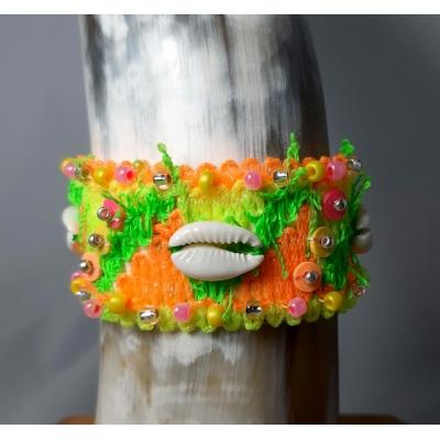 ibiza armband neon met schelpen