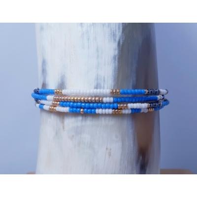 kralen armbandje blauw/ goud