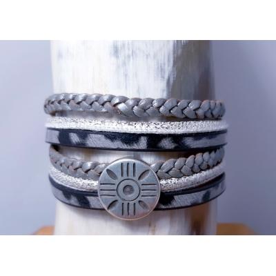 wikkelarmband in grijs/ zilver panter