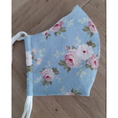mondkapje blauw met roze bloem