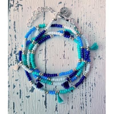 miyuki wikkelarmband in blauwtinten met kwastjes