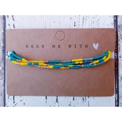 miyuki kralen armband in turquoisegroen/geel/goud