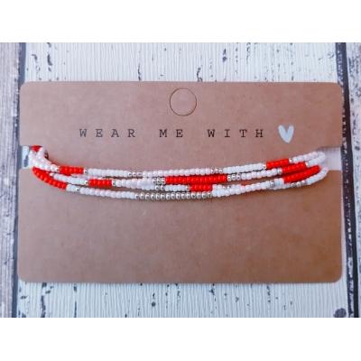 miyuki kralen armband in rood/roze/zilver