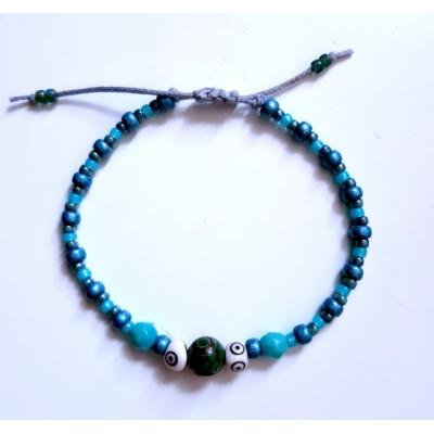 bohemien schuifarmbandje blauw/groen