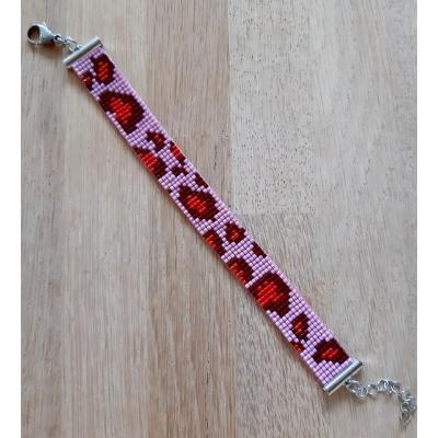 miyuki panter armband roze