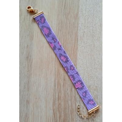 miyuki panter print armband lila