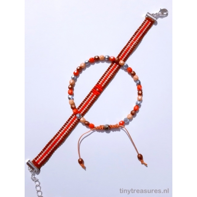 Miyuki armband setje warm oranje