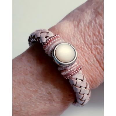 zacht roze kabel leren armband