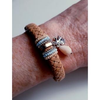 Kabelleer armband naturel