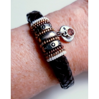 Bruine kabelleer armband
