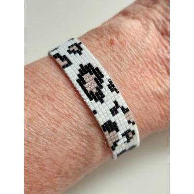 miyuki panter armband wit