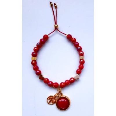 rode glas facet kraal armband met goud