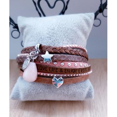 leren armband bruin/ roze