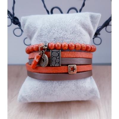 armband in warm oranje en brons