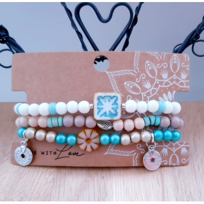 armbanden set in wit/turquoise en beige