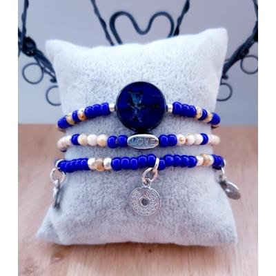 cobalt blauwe armbanden set
