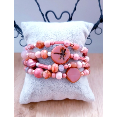 kralenarmband in verschillende tinten roze (KLEINE MAAT)