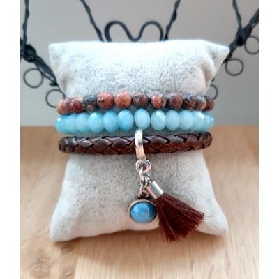 bruin blauwe armbanden set