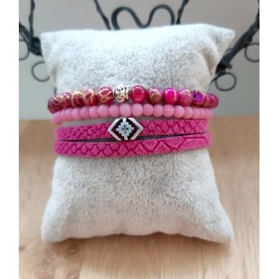 fuchsia / roze armbanden set van leer