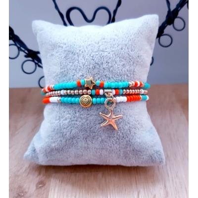 turquoise/ oranje/ goud armbanden setje