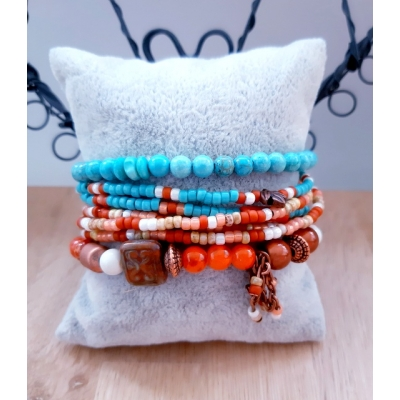 kralenarmband turquoise/ koper