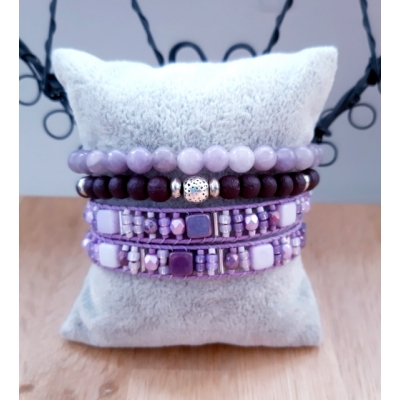 lila/ paarse armbanden set